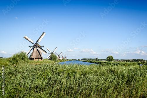 Poster Mills Beautiful dutch windmill landscape at Kinderdijk in the Netherlands