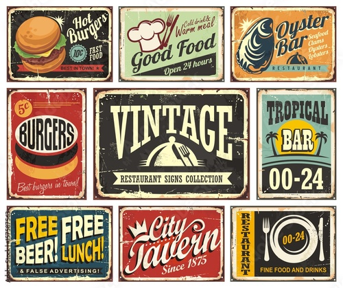 Obraz Vintage restaurant and cafe bar signs collection - fototapety do salonu