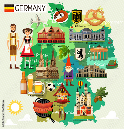 Canvas Print Germany Travel Map.