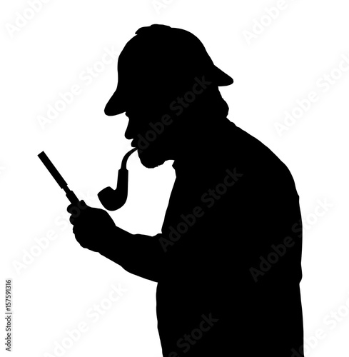 Valokuva  Silhouette of bearded man investigating with a magnifying glass Sherlock hat and