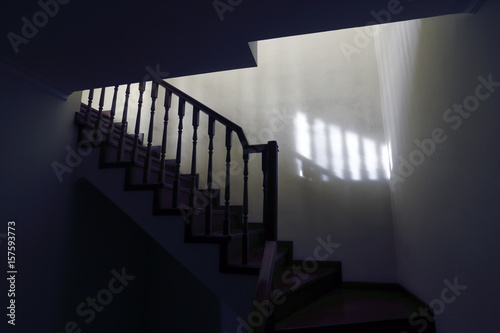 Foto op Canvas Trappen Scary stairs to the loft