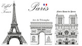 Fototapeta Eiffel Tower - Vector Eiffel Tower, Triumphal Arch and Notre Dame Cathedral