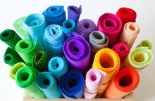 Felt Craft Color. Rolls Of Felt Lay On A White Background. Jute Rope.