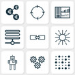 Robotics Icons Set. Collection Of Cyborg, Mechanism Parts, Information Base And Other Elements. Also Includes Symbols Such As Related, Regulation, Cycle.