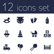Set Of 12 Child Icons Set.Collection Of Nappy, Abc Block, Maraca And Other Elements.