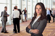 Aggressive strong powerful look headshot from business woman at business sales social event