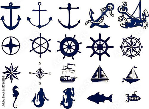 Vector de motivos marineros Canvas Print