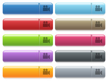 Video Camera Icons On Color Gl...