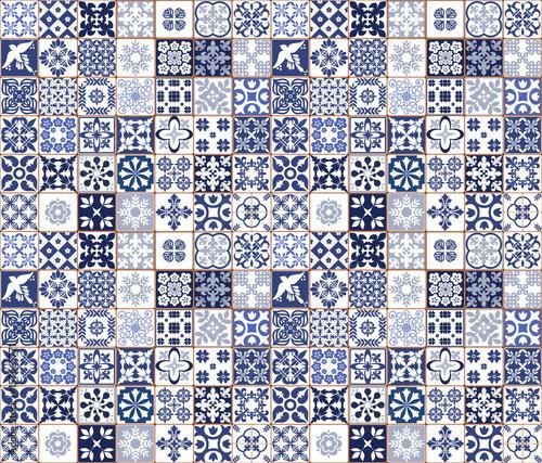 Blue Portuguese tiles pattern - Azulejos vector, fashion interior design tiles Wallpaper Mural