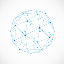 3d Vector Low Poly Spherical Object With Black Connected Lines And Dots, Geometric Blue Wireframe Shape. Perspective Facet Ball Created With Squares And Pentagons.