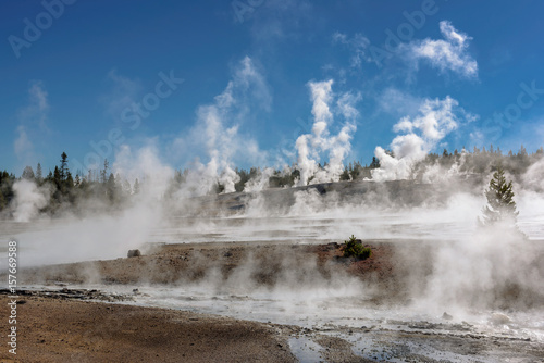 Poster Parc Naturel View of Geysers valley in Yellowstone National Park.