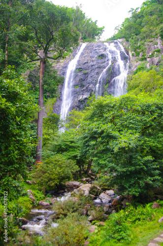 Aluminium Prints Garden KHLONG LAN, THAILAND - August, 2016: Jungle landscape with flowing water of Khlong Lan waterfall in Kamphaeng Phet province at deep tropical rain forest. Khlong Lan National Park, Thailand