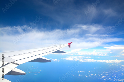 Photo  Aircraft flying over Singapore island.