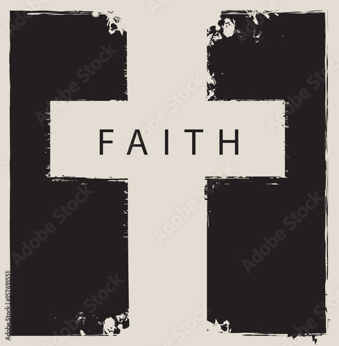 the sign of the cross scratched on abstract monochrome background with the word faith Wall mural