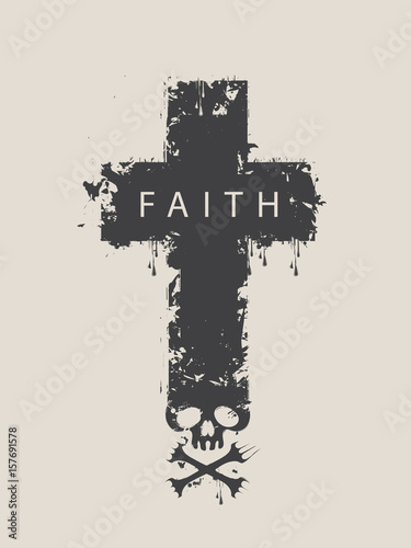 Printed kitchen splashbacks Watercolor skull Christian cross with a skull and cross-bones with the spray droplets and word Faith
