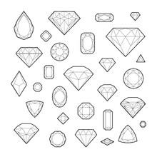Diamond, Icon Set, Vector Illustration, Line Design, Isolated On White Background