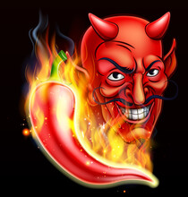 Flaming Hot Pepper And Devil