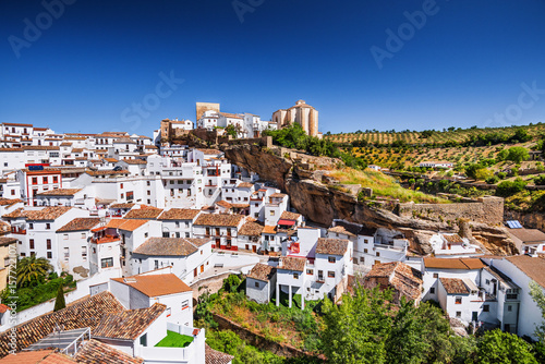 View of Setenil de las Bodegasvillage, one of the beautiful white villages (Pueb Canvas Print