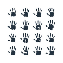 Isolated Abstract Handprint 16 Icon Set, On White Background