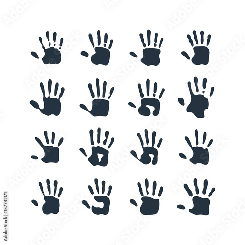 Fotografie, Obraz  isolated abstract handprint 16 icon set, on white background