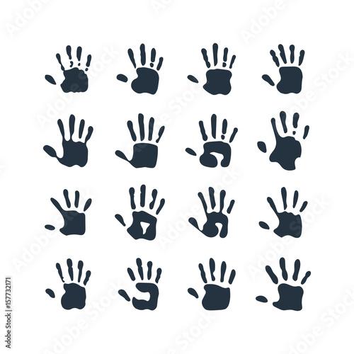 Obraz na plátně  isolated abstract handprint 16 icon set, on white background