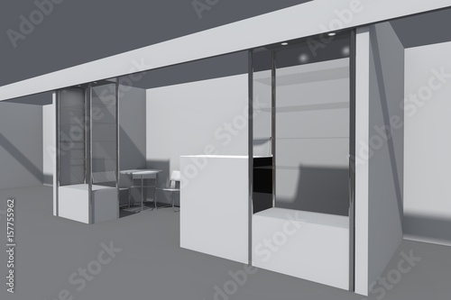 Exhibition Stand Reception : 3d visualization of the exhibition stand with showcases