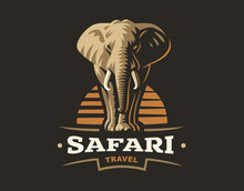 African Safari Elephant Logo -...