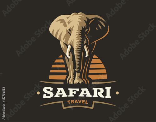 Naklejki słoń  african-safari-elephant-logo-vector-illustration-emblem-design-on-dark-background