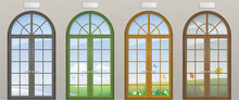 Colored Arched Doors. Entrance To The Seasons Of The Year. Conceptual Tourist Center. Vector Graphics