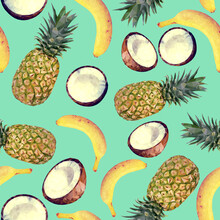 Seamless Pattern With Tropical Fruits. Vector Pattern With Pineapples, Coconuts And Bananas
