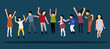Happy children jumping up, concept of childhood, joy, fun, flat style, isometric people