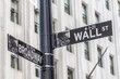 Traffic signal at Wall Street and Broadway, Manhattan, New York City, New York, USA.