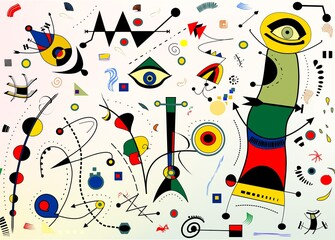 Panel Szklany Abstrakcja Abstract background, style Miro `French painter