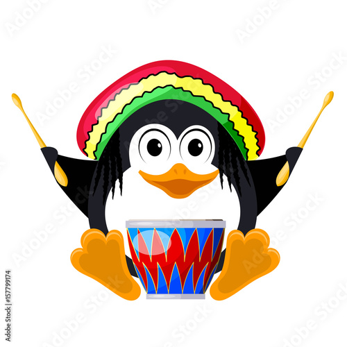 Photo  Penguin with a drum in a beret
