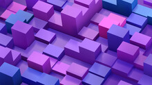 Abstract Background Of Cubes And Parallelepipeds In Blue And Purple Colors
