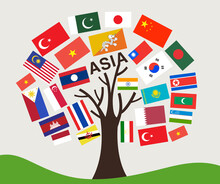 Set Of World Flag In Tree Desi...