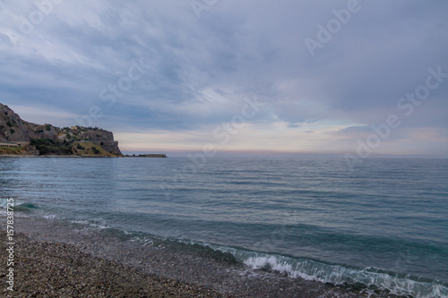 Obraz na plátně  Sunset on a Mediterranean beach of Ionian Sea - Bova Marina, Calabria, Italy