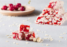 Traditional Turkish Delight With Cherry