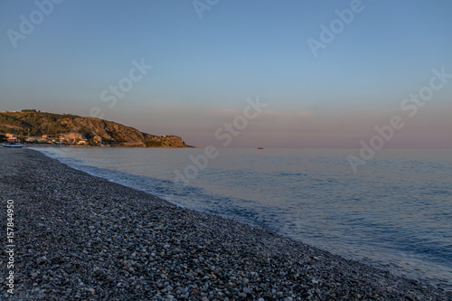 Sunset on a Mediterranean beach of Ionian Sea - Bova Marina, Calabria, Italy Wallpaper Mural