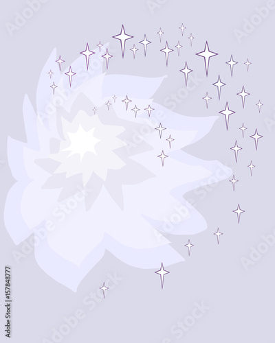 Fototapety, obrazy: Vector abstract purple background of a peony and stars arranged spirally