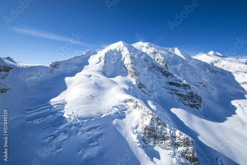 Foto auf Gartenposter Antarktika Aerial view of Piz Palù with the crevasses of its glacier, Val Roseg, Engadine, Canton Grigioni, Switzerland.