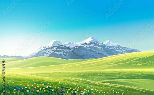 Foto op Aluminium Blauw Mountain landscape with alpine meadows, raster illustration.