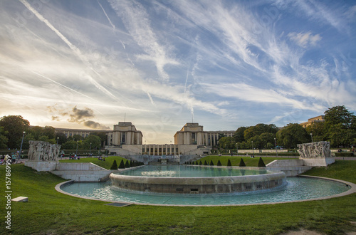 Photo  View of gardens and fountain Paris France Europe
