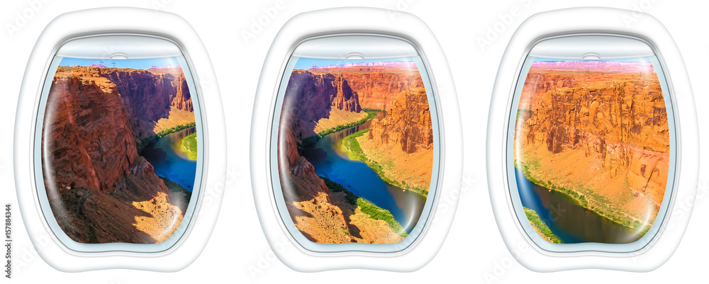 Three porthole frame windows on the Grand Canyon at Lake Powell. Lake Powell is a reservoir on the Colorado River, straddling the border between Utah and Arizona. USA, America.