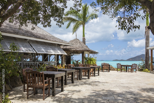 Typical restaurant surrounded by the Caribbean Sea Ffryes Beach Sheer Rocks Anti Canvas Print