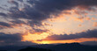 Sunset. Sky clouds background. Ridge Mountains silhouette. Skyline. Montenegro
