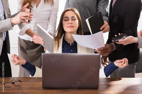 Fotografia  Hard Working Businesswoman Meditating