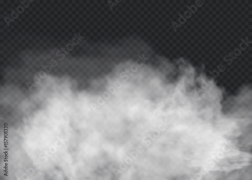 Photo Stands Smoke Fog or smoke isolated transparent special effect. White vector cloudiness, mist or smog background. Vector illustration