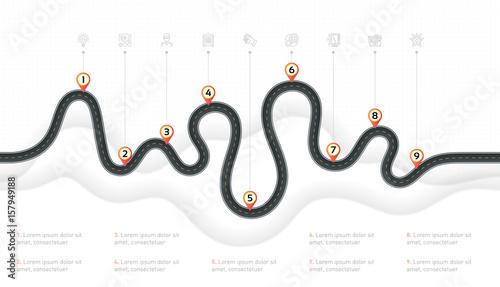 Navigation map infographic 9 steps timeline concept. Winding roa Canvas Print