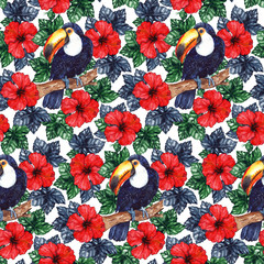 Panel Szklany Podświetlane Egzotyczne Watercolor exotic tropical flower hibiscus animal bird toucan seamless pattern texture background
